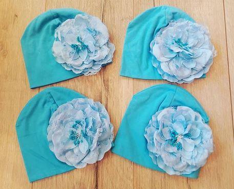 Весенняя шапочка, ОГ 36см, ориентировочно на 3-12 месяцев, цвет голубой