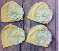 Весенняя шапочка, ОГ 36см, ориентировочно на 3-12 месяцев, цвет желтый