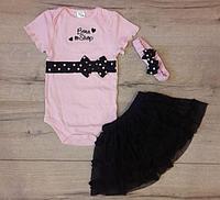 Нарядный костюм-тройка для девочки, цвет розовый, 24 мес