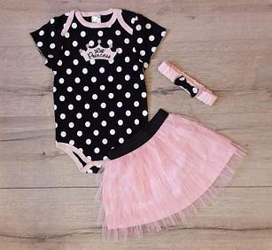 Нарядный костюм-тройка для девочки, цвет черный в горошек, 24 мес