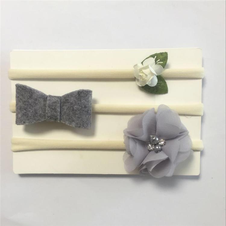 Набор тканевых ободков,  3 шт.,  цвет серый, для девочек 1-5 лет.