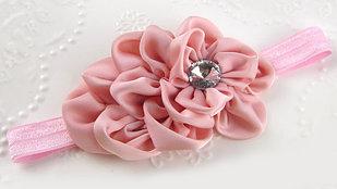 Ободок тканевый мягкий, цвет светло-розовый