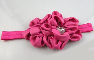 Ободок тканевый мягкий, цвет ярко-розовый