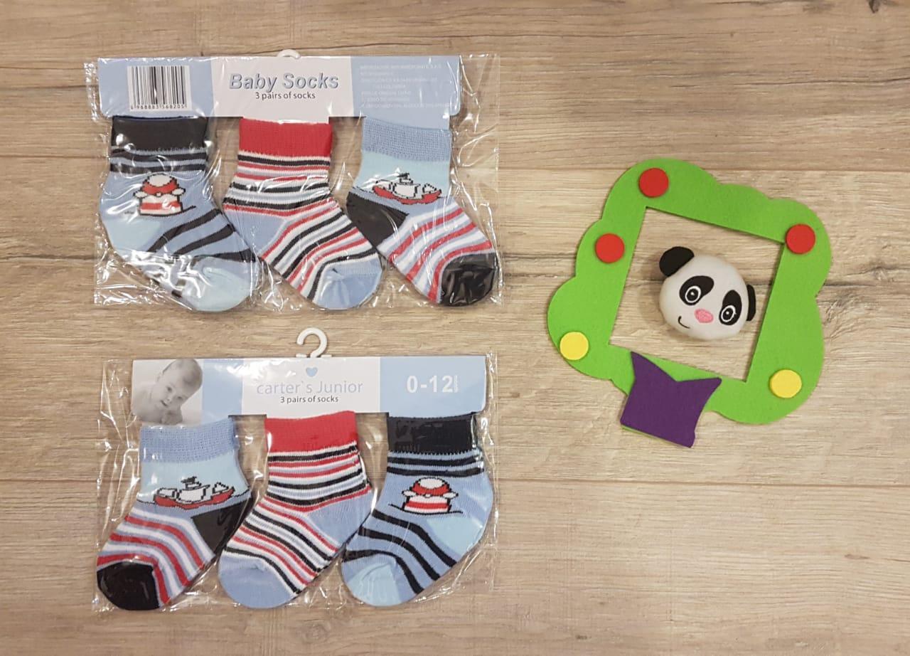 Носочки для мальчиков, в наборе 3 шт., цвет голубой, на 0-12 мес., Carter's