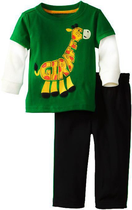 Костюм спортивный с жирафиком, цвет зеленый