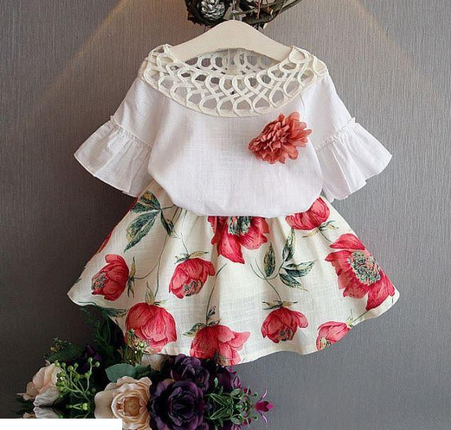 Нарядный костюм-двойка для девочки, с цветами, цвет белый, 2-3, 3-4 года