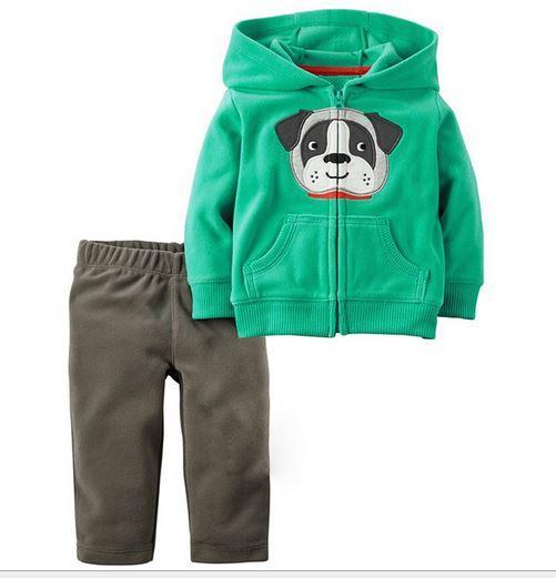 Костюм весенний флисовый, зеленый с собачкой, на 7 лет