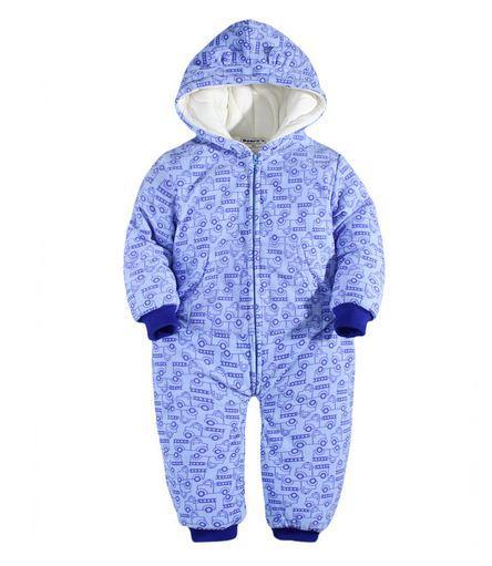 Комбинезон детский,  с машинками, цвет голубой