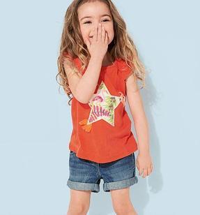 Футболка для девочки, со звездой, цвет оранжевый на 18 мес