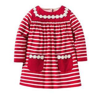 Платье детское, с ромашками, цвет красный, на 6 лет