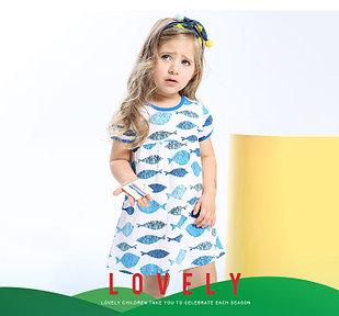 Платье летнее, с рыбками, бело-голубое, 18 мес
