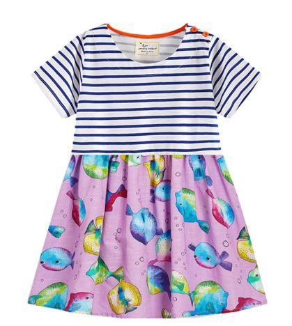 Платье летнее, с рыбками, в полоску