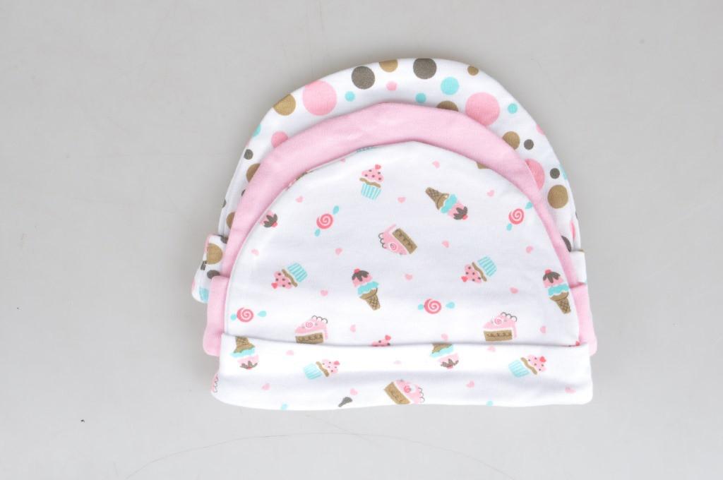 Шапочки для новорожденных, 3 шт., расцветка для девочек