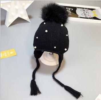 Вязаная шапочка с помпоном, цвет черный