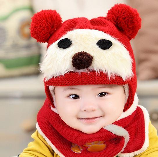 Зимняя шапка+шарф, на 6-12 мес, цвет красный