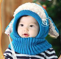 Шапка-капор с ушками, цвет синий
