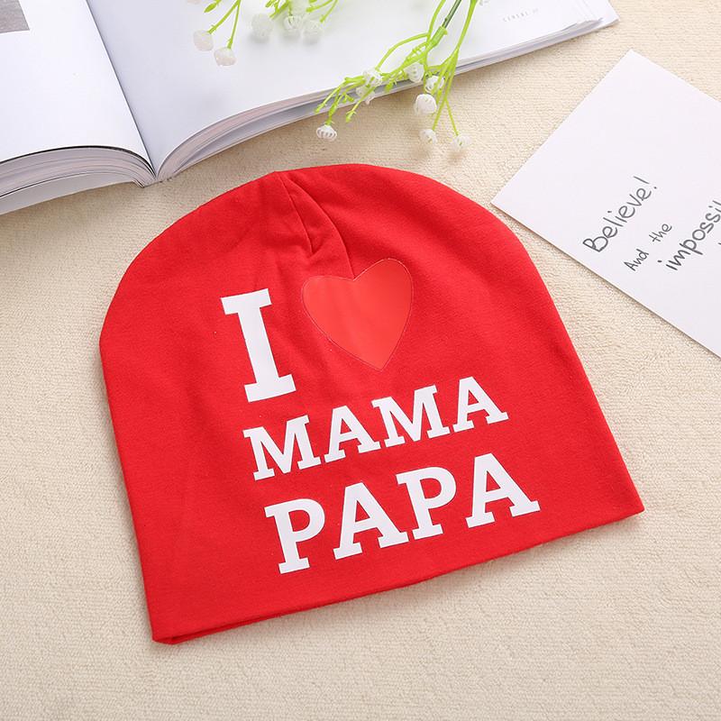 """Шапочка """"Я люблю маму, папу"""", цвет  красный"""