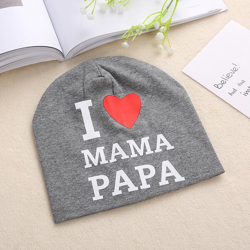 """Шапочка """"Я люблю маму, папу"""", цвет серый"""
