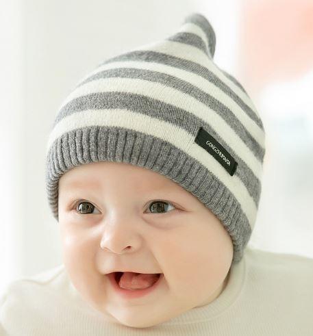 Шапочка для малышей в полоску, цвет серый