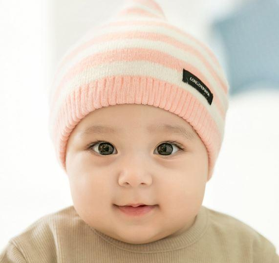 Шапочка для малышей, в полоску, цвет розовый