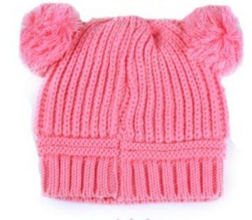 Шапочка осенняя теплая, с бумбонами, на 6-24 мес, цвет розовый