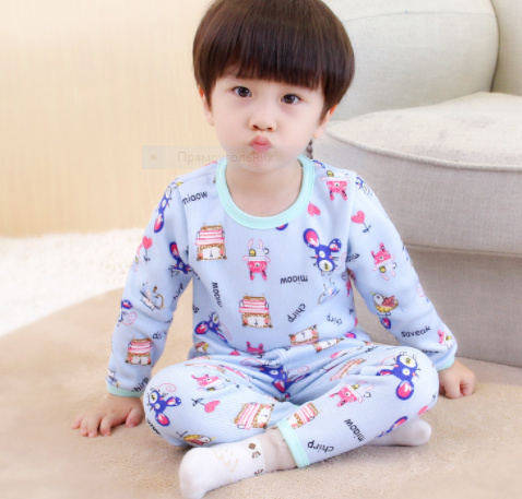 Пижама утепленная, с животными, цвет голубой