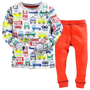 """Пижама утепленная """"Транспорт"""", цвет красный, на 2 года"""