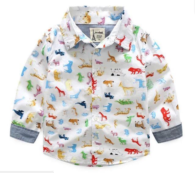 Рубашка с животными, цвет белый