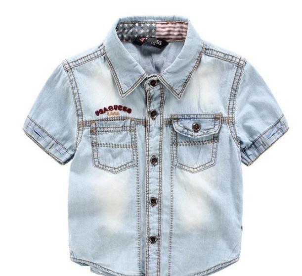 Рубашка джинсовая, цвет голубой