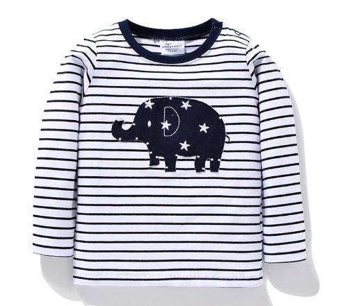 Кофта со слоником, черно-белая, в полоску