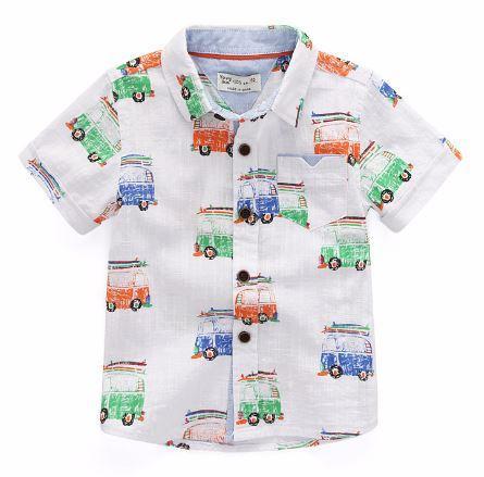 Рубашка с автобусами, цвет белый