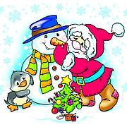 """Салфетки 25х25см, 1 сл., """"Дед Мороз и Снеговик"""", Бумага, 40 шт"""