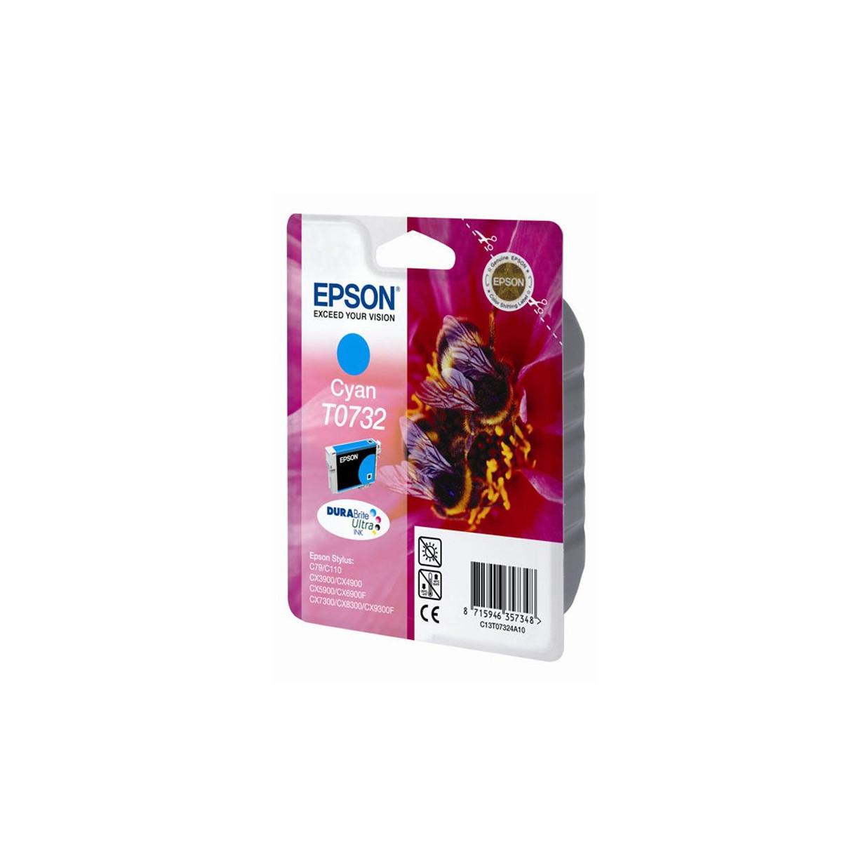 Струйный картридж Epson T0732 (Оригинальный, Голубой - Cyan) C13T10524A10