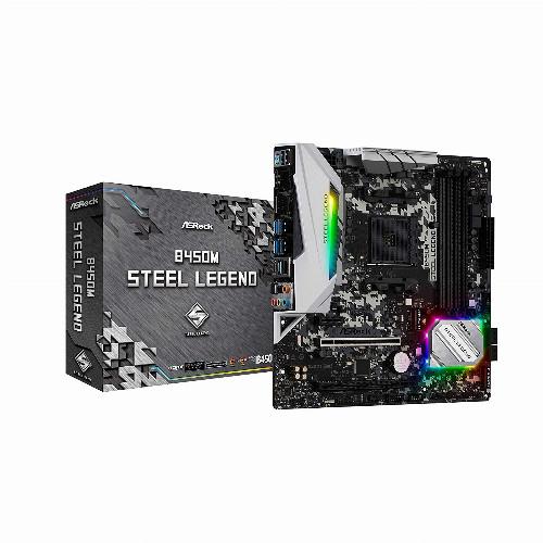 Материнская плата ASRock B450M STEEL LEGEND (Micro-ATX, AM4, AMD B450, 4 x DDR4, 64 Гб) B450M STEEL LEGEND