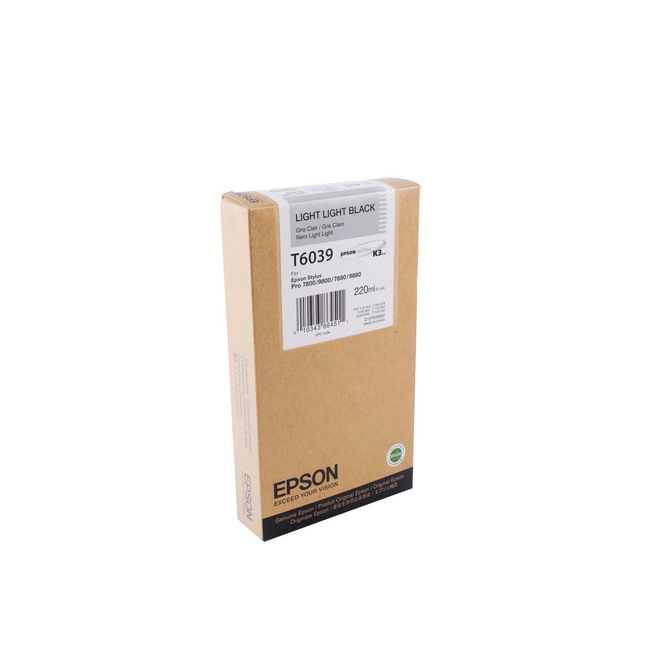 Струйный картридж Epson T6039 (Оригинальный, Светло-серый - Light Black) C13T603900
