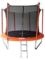 Батут SportElite 3,05м MZ-10FT-O с защитной сеткой внутрь и лестницей, оранжевый