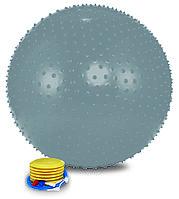 Мяч массажный 1875LW (75см, ножной насос, серебро)