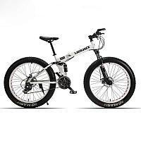 """Велосипед фэтбайк LauxJack 26"""" складной, резина 4.0, белый"""