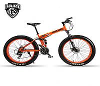 """Велосипед фэтбайк LauxJack 26"""" складной, резина 4.0, оранжевый"""