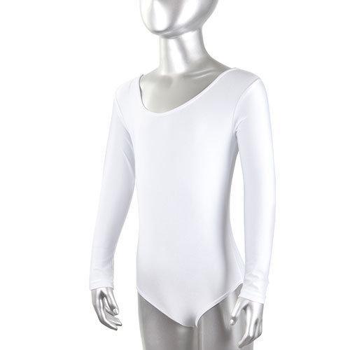 Купальник гимнастический, длинный рукав, белый, х/б, р. 36