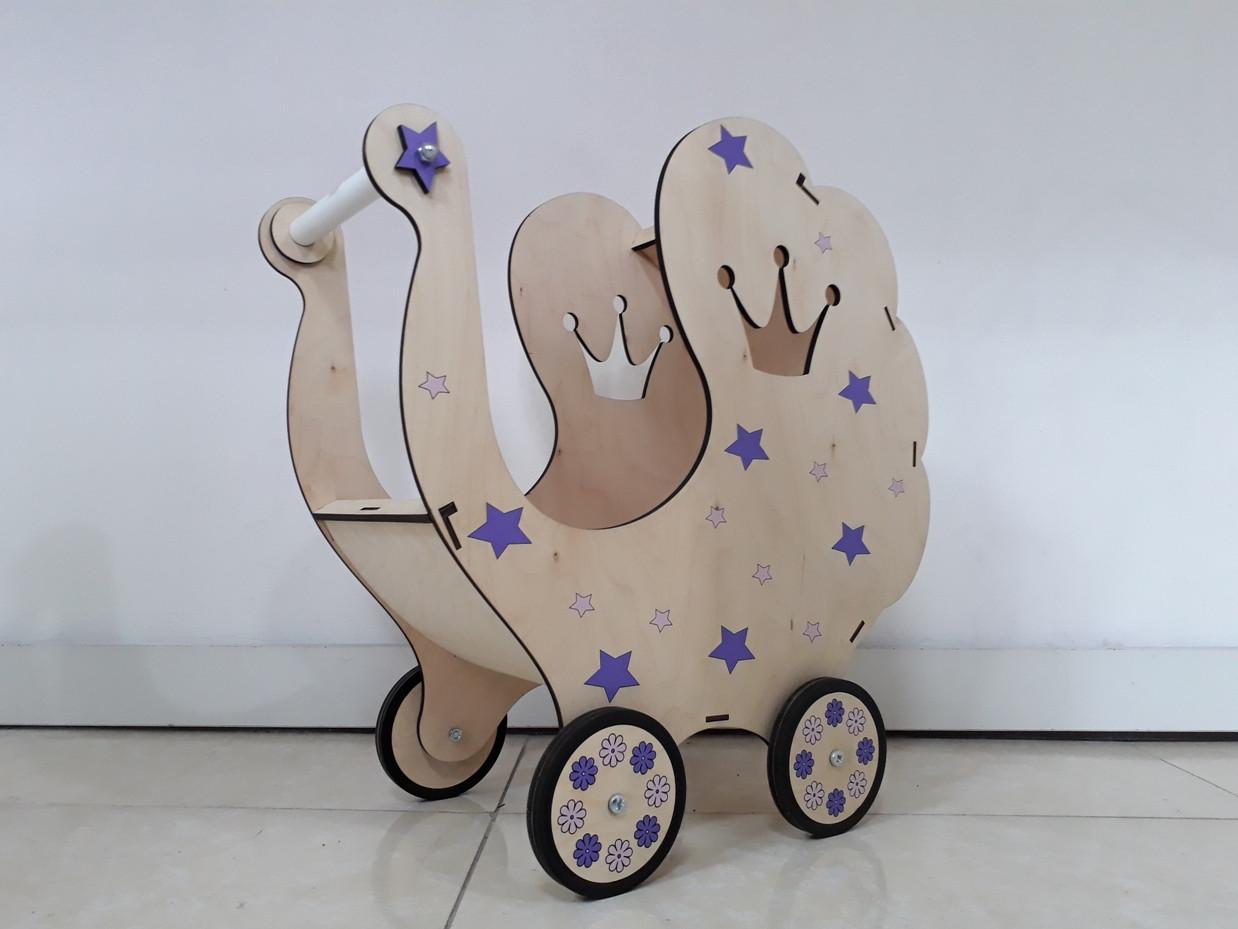 Деревянная коляска для кукол. Ручная работа. Комплект белья в подарок!