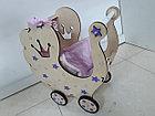 Деревянная коляска для кукол. Ручная работа. Комплект белья в подарок!, фото 2