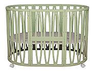 Круглая кроватка-трансформер Incanto Estel Acqua 10 в 1 Фисташковый, фото 1