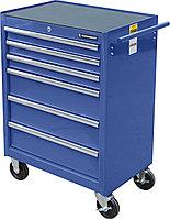 Тележка инструментальная для автосервиса с 6 ящиками, синего цвета