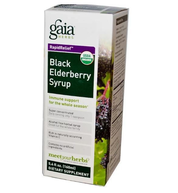 Gaia Herbs, Rapid Relief, сироп чёрной бузины, 160 мл