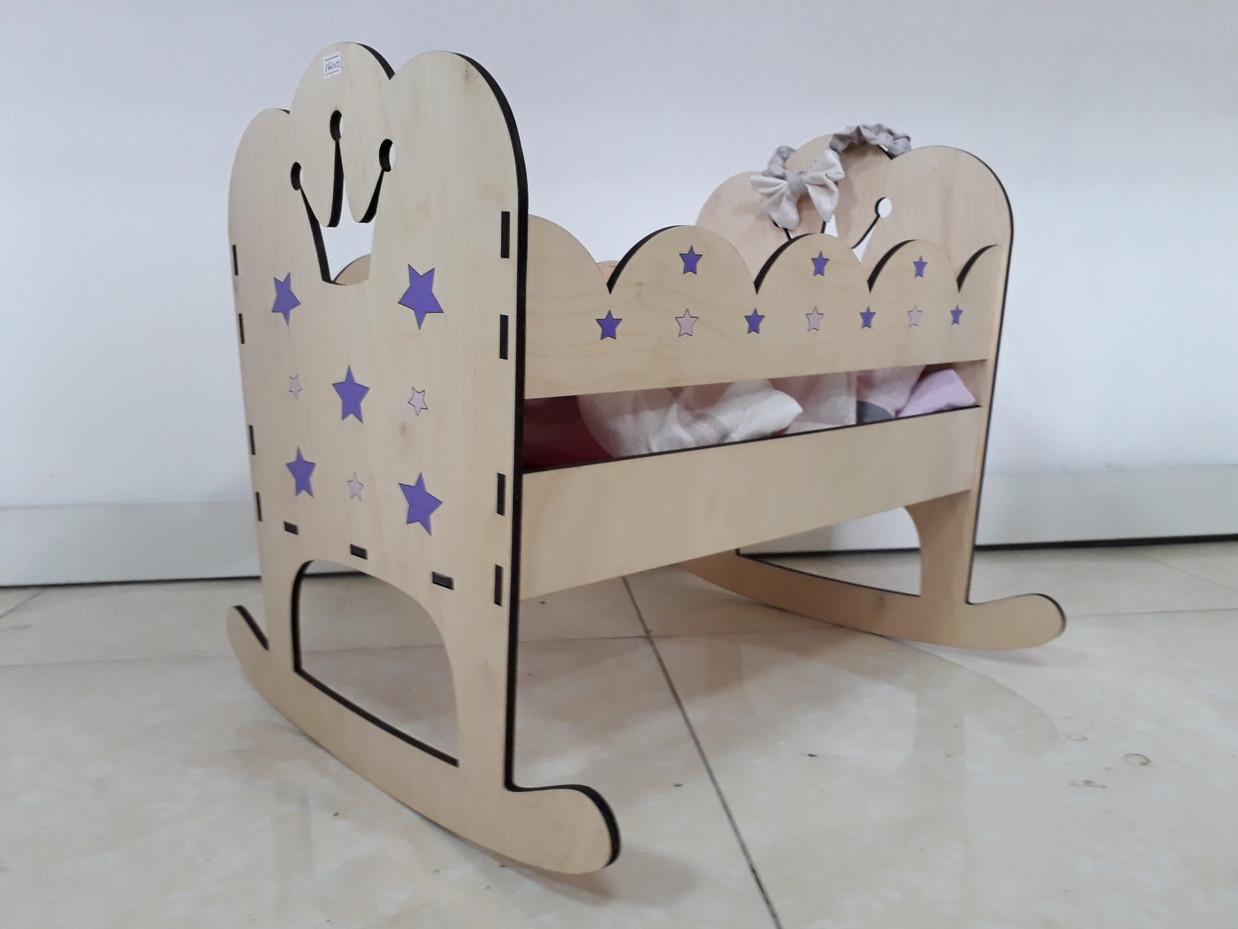 Деревянная кроватка для кукол. Hand made. Манеж. Комплект белья в подарок!