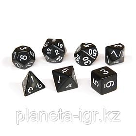 Набор кубиков Единорог черный, D4, D6ц, D8, D10, D12, D20, D%