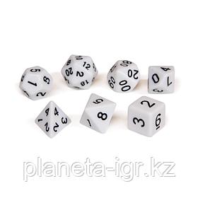 Набор кубиков Единорог белый, D4, D6ц, D8, D10, D12, D20, D%
