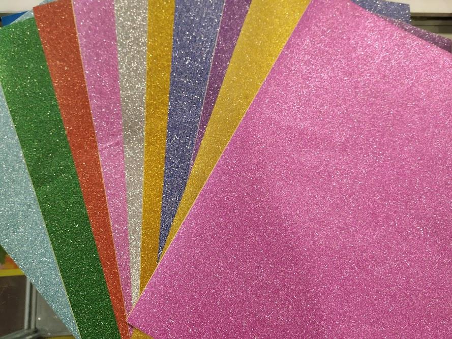 Цветная глиттерная, самоклеящаяся бумага , формат А4,10 шт, для скрапбукинга,Алматы