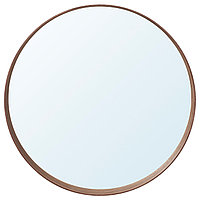 Зеркало СТОКГОЛЬМ диаметр 60 см шпон грецкого ореха ИКЕА, IKEA